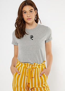 Gray Embroidered Dragon Boxy Tee