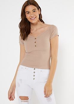 Taupe Ribbed Button Off The Shoulder Top