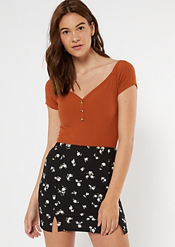 Burnt Orange Ribbed Button Off The Shoulder Top