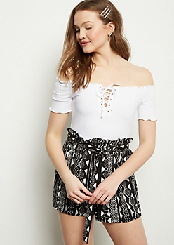 White Off The Shoulder Lace Up Ribbed Top