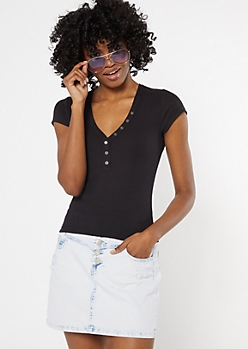 Black Button Down Baby Tee