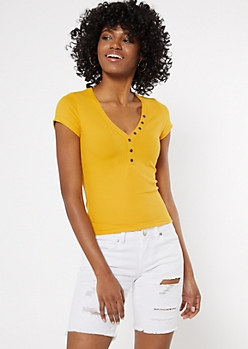 Mustard Button Down Baby Tee