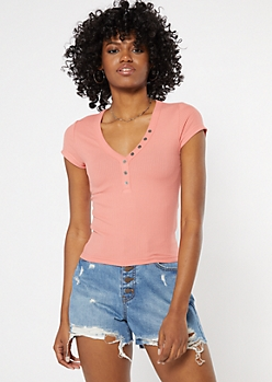 Coral Button Down Baby Tee