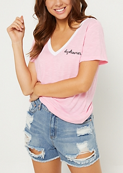 Pink Daydreamer Embroidered Tee