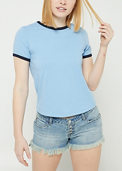 Blue Contrast Ringer Tee