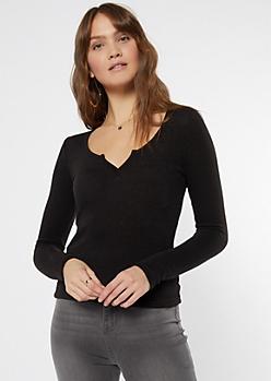 Black Long Sleeve Notch Neck Top