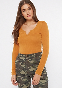 Mustard Long Sleeve Notch Neck Top
