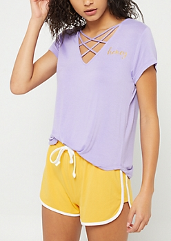 Purple Honey Cross Strap Tee