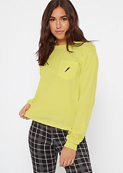 Neon Green Lightening Bolt Embroidered Tee
