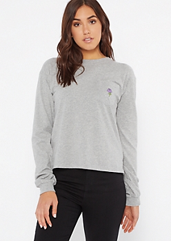 Gray Rose Embroidered Pocket Tee