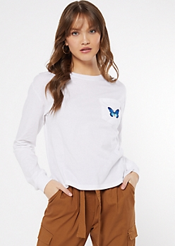 White Butterfly Embroidered Long Sleeve Tee
