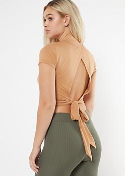 Camel Super Soft Tie Back Top
