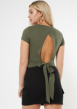 Olive Super Soft Tie Back Top