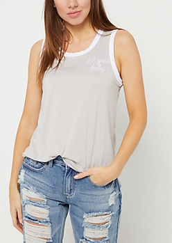 Gray Not Your Baby Ringer Tank Top