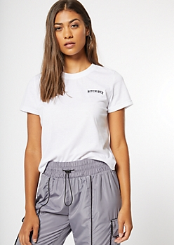 White Bye Embroidered Tee