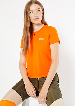 Neon Orange Bye Embroidered Tee