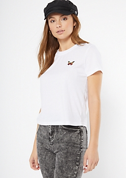 White Butterfly Embroidered Tee