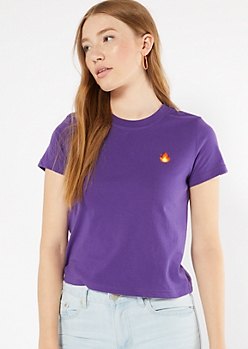 Purple Flame Embroidered Tee