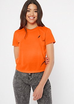 Neon Orange Lightning Bolt Embroidered Tee