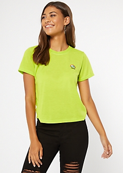 Green Rainbow Vibes Embroidered Tee
