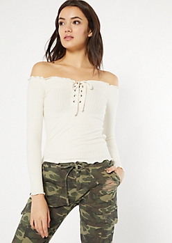Ivory Off The Shoulder Lace Up Tee