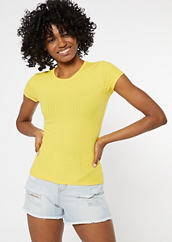 Yellow Ribbed Knit Baby Tee