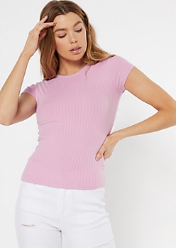 Pink Ribbed Knit Baby Tee