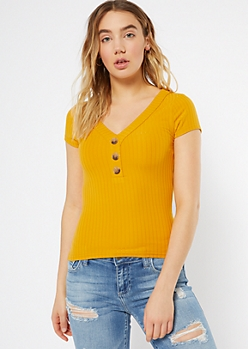 Mustard Ribbed Knit Button Down Favorite Tee