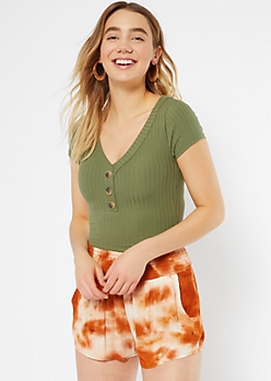 Green Ribbed Knit Button Down Favorite Tee