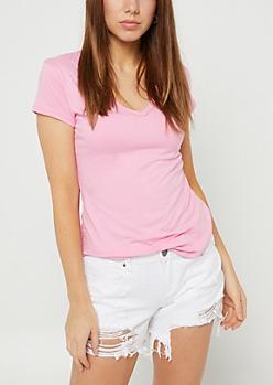 Pink Super Soft V Neck Tee
