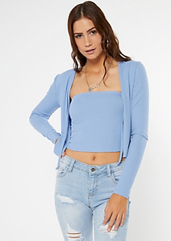 Blue Ribbed Knit Tube Top