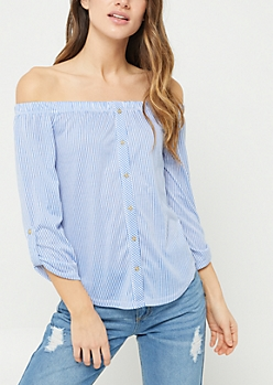 Blue Stripe Print Off Shoulder Button Top