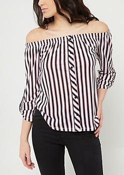 Navy Stripe Off The Shoulder Button Top