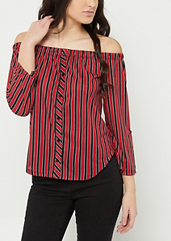 Red Stripe Off The Shoulder Button Top