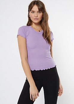 Lavender Lettuce Edge Ribbed Knit Tee