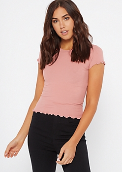 Pink Lettuce Edge Ribbed Knit Tee