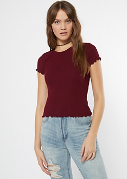 Burgundy Lettuce Edge Ribbed Knit Tee