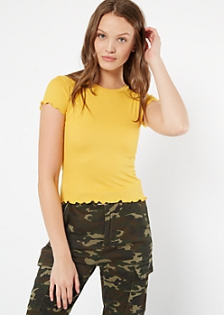 Mustard Lettuce Edge Ribbed Knit Tee