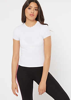 White Ribbed Knit Lace Trim Tee