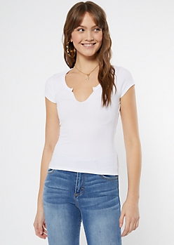 White Notch Neck Baby Tee