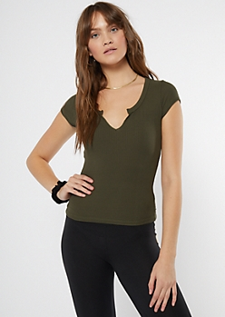 Olive Notch Neck Baby Tee