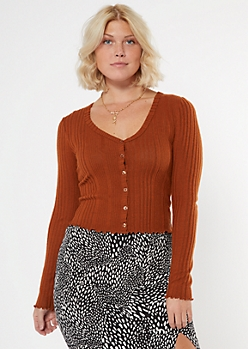 Burnt Orange Ribbed Lettuce Edge Cropped Cardigan