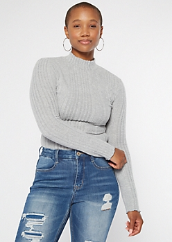 Heather Gray Mock Neck Lettuce Edge Fitted Sweater