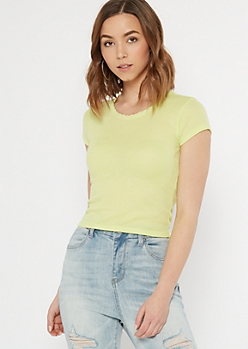 Neon Yellow Lace Trim Thermal Tee