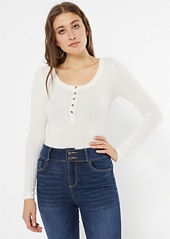 Ivory Ribbed Knit Henley Top