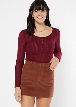 Burgundy Ribbed Knit Henley Top