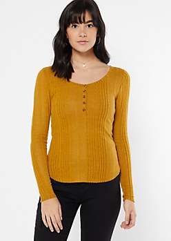 Mustard Ribbed Knit Henley Top