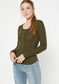 Olive Ribbed Knit Henley Top