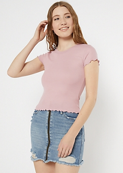 Medium Pink Ribbed Knit Lettuce Edge Tee