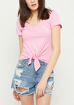 Pink Super Soft Tie Front Tee